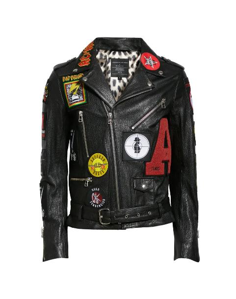Patch Leather Biker Jacket
